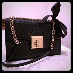 Aldo black clutch handbag with ribbon